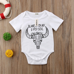 Newborn Infant Baby Girl Boy Clothes Gypsy Deer Romper Jumpsuit Outfits Baby Boy Short Sleeve Printed Romper White Black