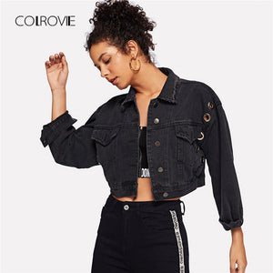 Black Solid Ring Detail Pockets Denim Women Jacket Coat 2018 Autumn Casual Basic Jacket Coat Boyfriend Denim Jacket