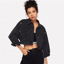 Load image into Gallery viewer, Black Solid Ring Detail Pockets Denim Women Jacket Coat 2018 Autumn Casual Basic Jacket Coat Boyfriend Denim Jacket