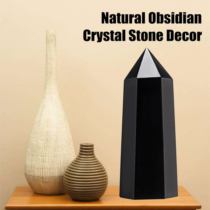 Natural Black Obsidian Crystal Stone Healing Hexagonal Wand Point