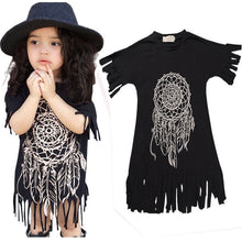 Load image into Gallery viewer, New Boho Baby Kids Children Girl Fringe Sleeve Dreamcatcher Casual Tassel Dress