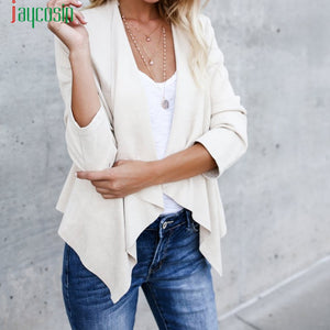 Casual Women Faux Suede Short Jacket  Biker Ladies Open Front