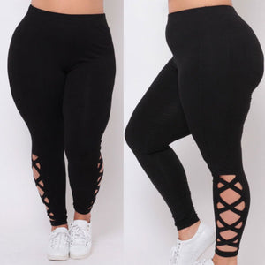 Black Hollow Out Curvy Pant