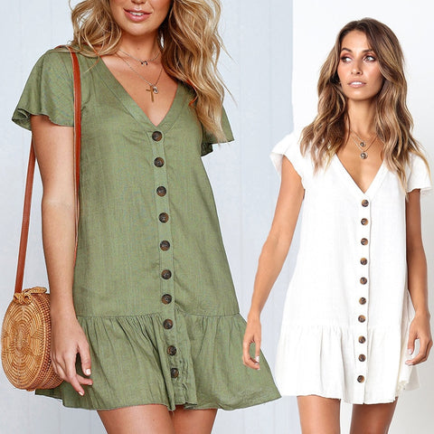 Sexy V-Neck Short Sleeve Ruffle Buttons