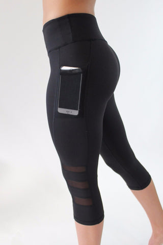 High Waist Slim Mesh Leggings