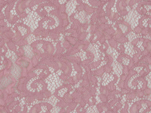 Heavy Corded Floral Lace with Double Scallop Edge, Winter Pink
