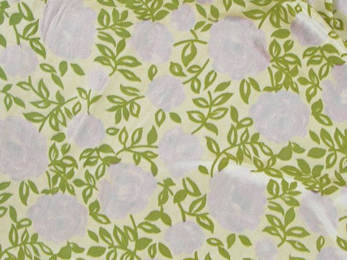 Printed Burnout Flower Velour - Lime