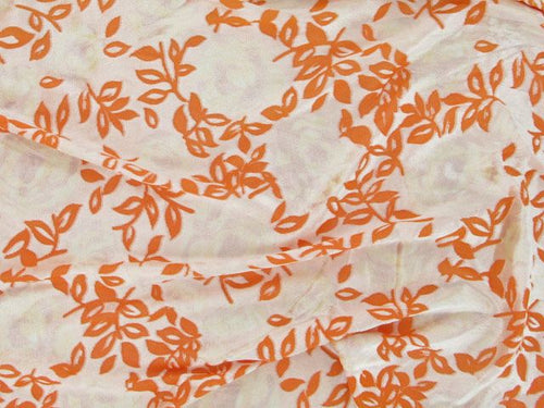 Printed Burnout Flower Velour - Orange