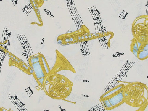 Crepe de Chine, Music Print - White