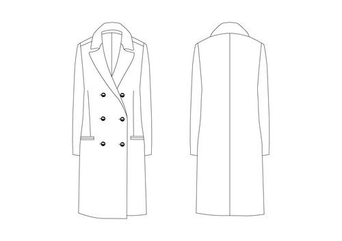 DOUBLE BREASTED COAT - PATTERN (MENS)