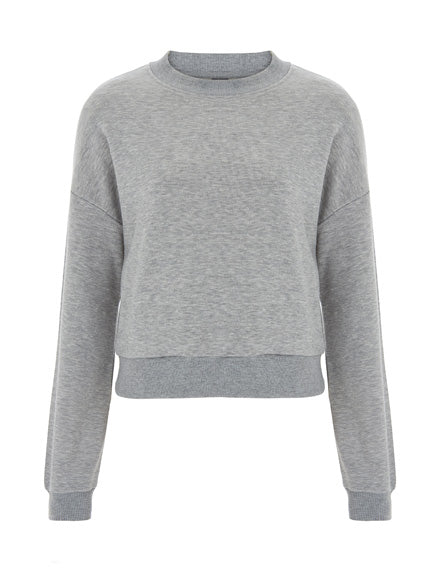 Womens Cropped Sweater - Light Grey (Pack of 10)