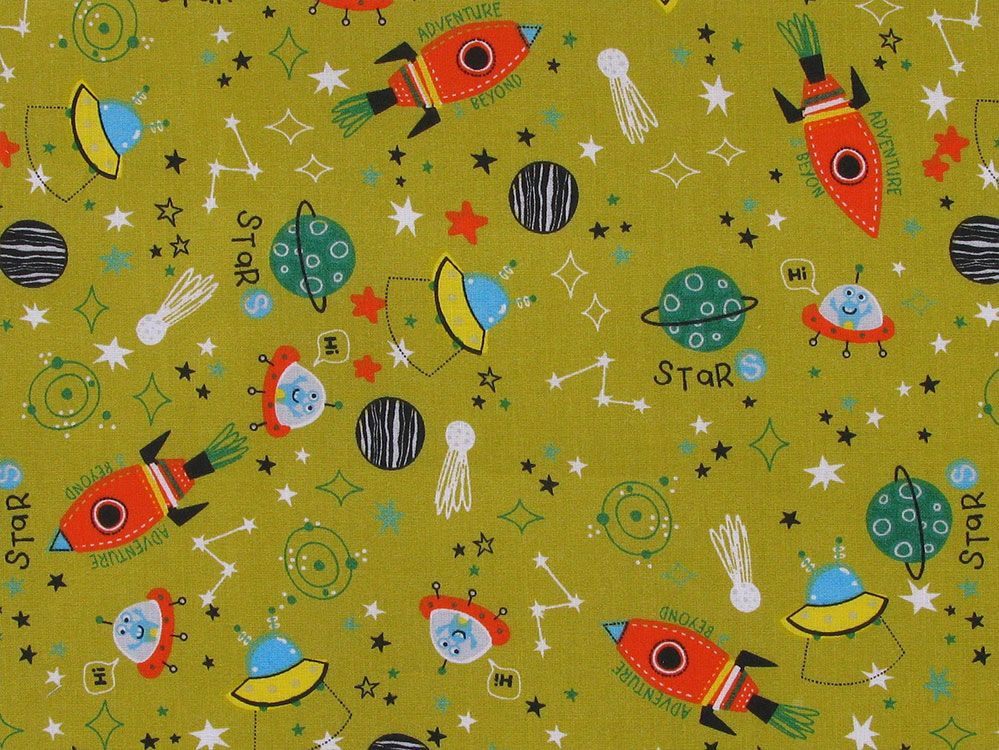 Adventure And Beyond Cotton Print, Ochre