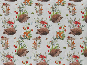 Autumn Garden Hedgehog Cotton Print