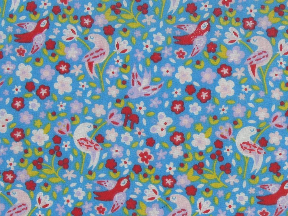 Birds And Blooms Polycotton Print, Blue