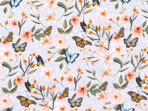 Butterfly Meadow Cotton Jersey, Grey Melange