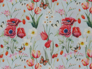 Butterfly Poppy Cotton Print, Sky