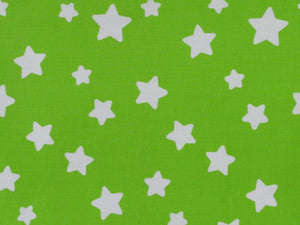 Crease Resistant Polycotton Twill, Stars, Lime