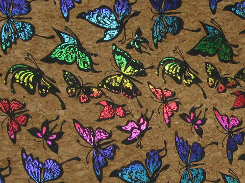 Large Grain Cork Vinyl, Butterfly Rainbow