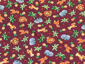 Tropical Jungle Cotton Print, Brown