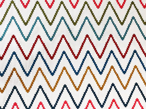 Multi Step Zig Zag Printed Canvas
