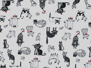 Clever Cats Cotton Poplin Print, Ivory