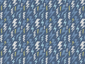 Glow in the Dark Cotton Jersey, Lightning Bolt, Blue