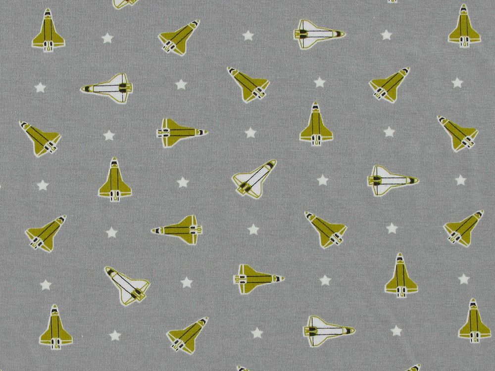 Glow In The Dark Rocket Ship Cotton Jersey, Grey