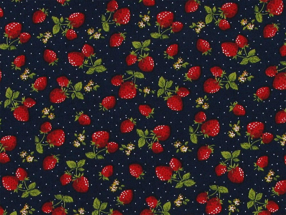 Strawberry Garden Cotton Poplin Print, Navy
