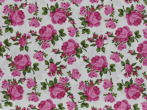 Timeless Rose Garden Cotton Poplin Print, Cerise on White