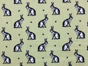 Country Bunny Cotton Print, Sage