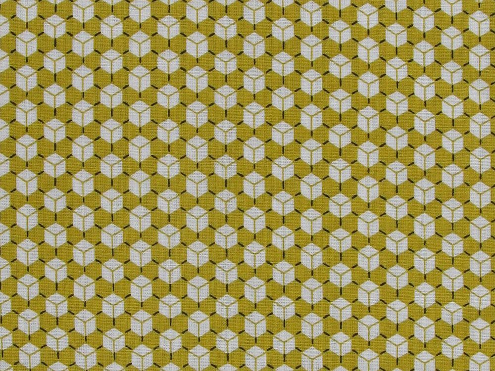 Geometric Mini Cubes Cotton Print, Mustard