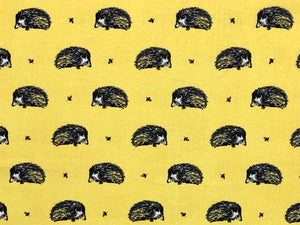 Country Hedgehog Cotton Print, Yellow