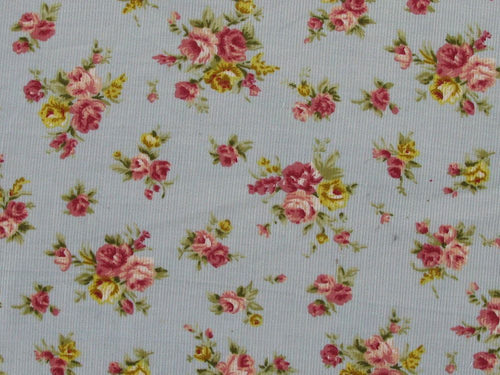 Countryside Roses Printed Cotton Corduroy, Sky