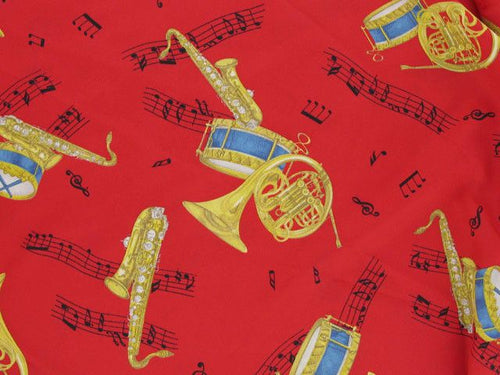 Crepe de Chine, Music Print - Red