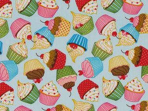 Cupcake Fun Cotton Poplin Print, Sky