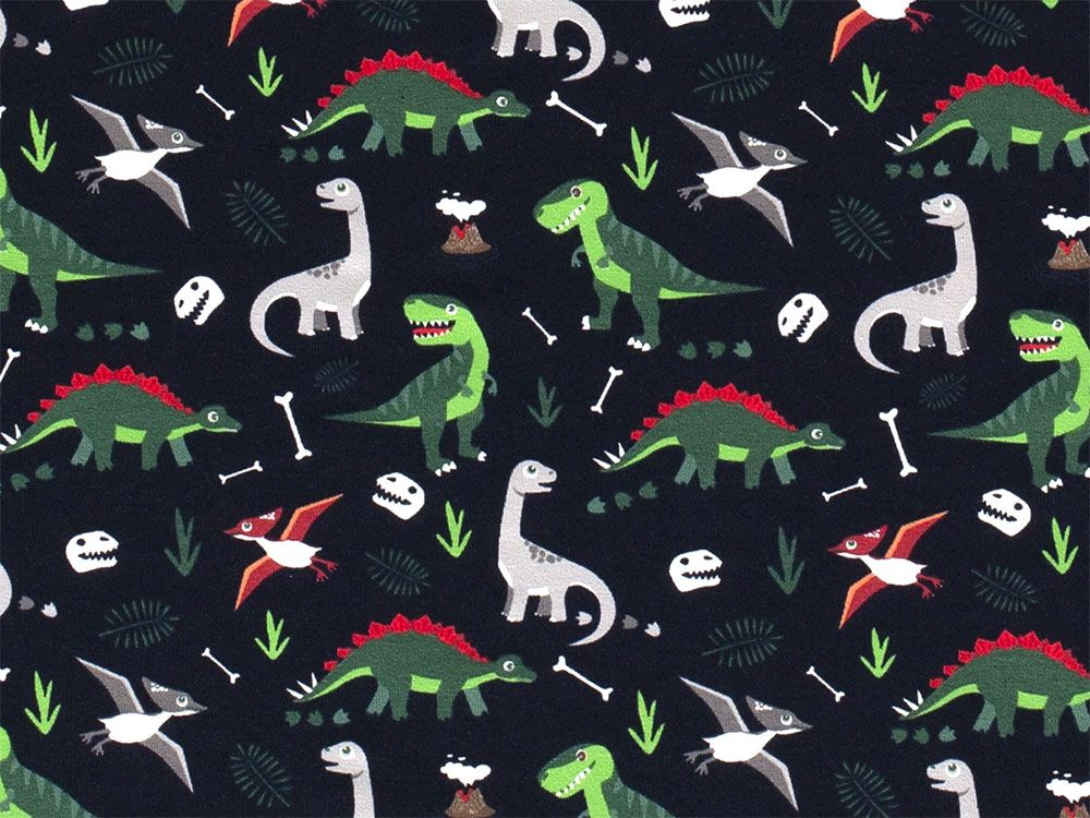 Dinosaur Bones Cotton Jersey, Navy