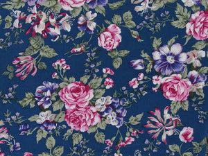 Dorset Rose Cotton Poplin Print, Blue