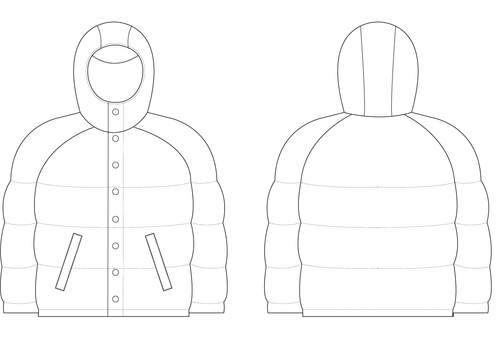 HOODED PUFFER JACKET - PATTERN (MENS)