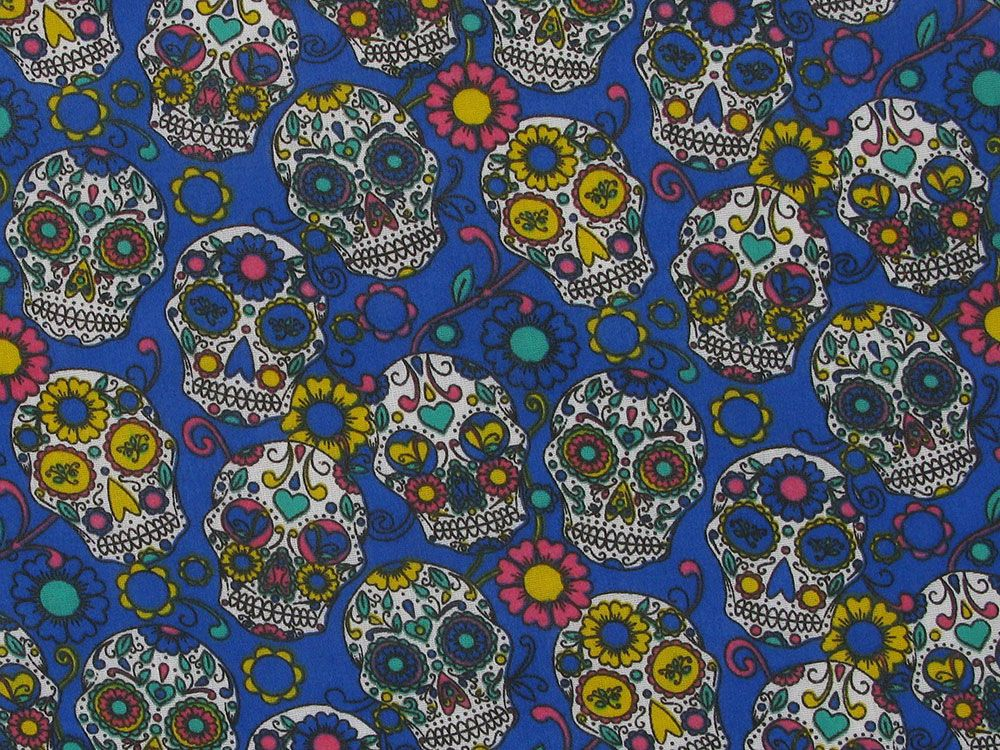 Festival Sugar Skull Polycotton Print, Royal
