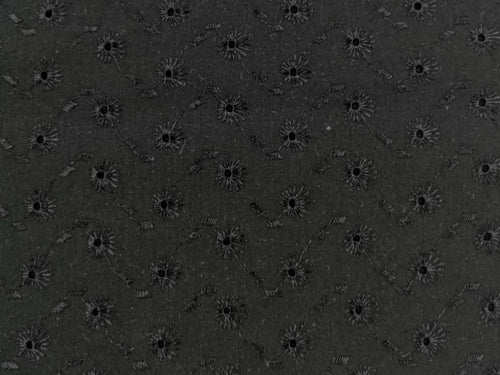 Floral Spot Cotton Rich Broderie Anglaise, Black
