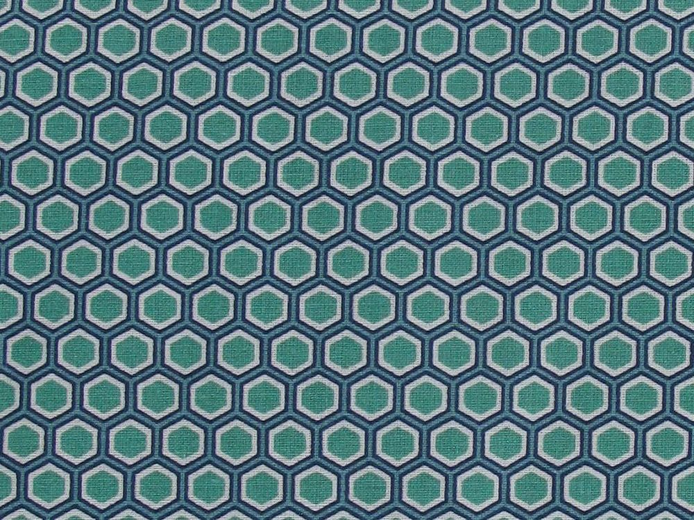 Geometric Honeycomb Cotton Print, Turquoise
