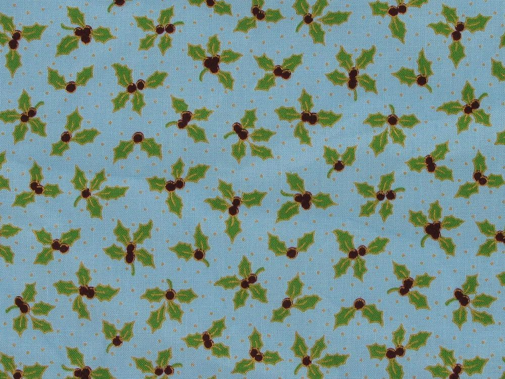 Golden Holly Berry Cotton Poplin, Turquoise