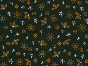 Golden Christmas Snowflake and Holly Cotton Print, Green