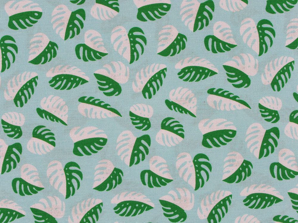 Jungle Palm Leaf Cotton Print, Sky
