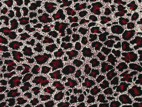 Leopards Spots Printed Cotton Corduroy, Red
