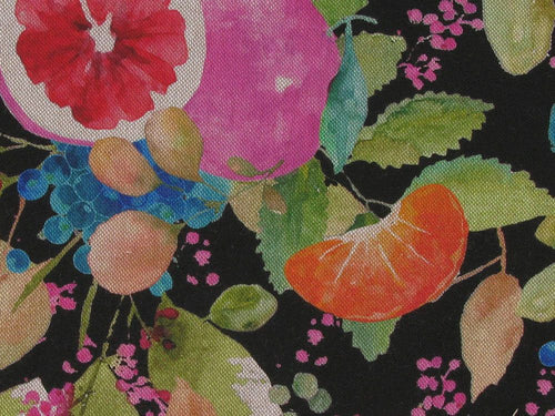 Linen Look Printed Panama Fruit Garden, Black