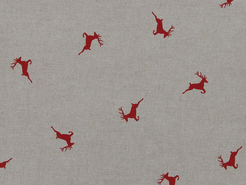 Linen Look Printed Panama Stags, Red