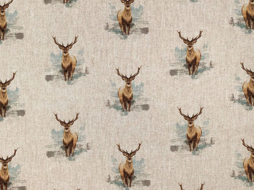 Linen Look Printed Panama, Stags