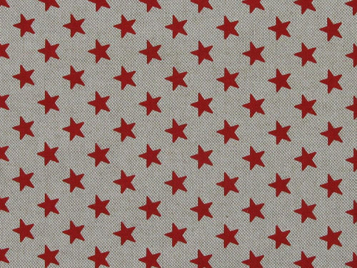 Linen Look Printed Panama Stars, Red