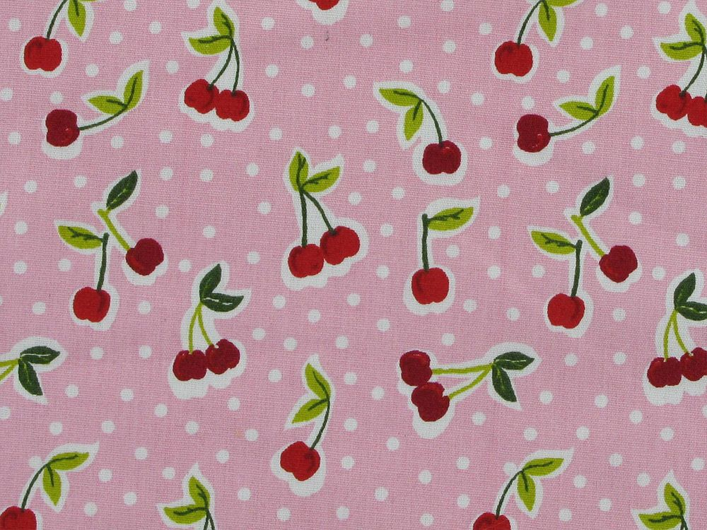 Love You Cherry Cotton Print, Pink